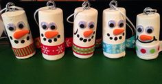 Wine Cork Snowman Ornaments by TwoCraftyWIChics on Etsy                                                                                                                                                                                 More