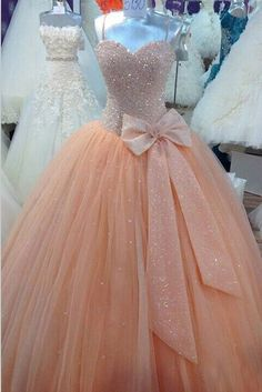 Sequined Tulle Peach Sweet 16 Prom Formal Dress Ball Gown Quinceanera Dresses