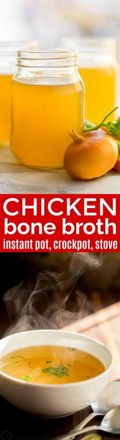 How to make nutrient rich, flavorful chicken stock (bone broth) in an instant pot, slow cooker, or stovetop. Use homemade chicken bone broth in any recipe. | natashaskitchen.com