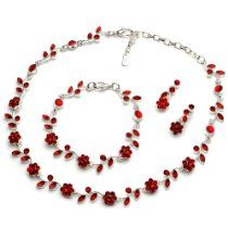 USABride Red Floral Vine 3-Piece Necklace, Bracelet and Earrings Jewelry Set 1556 R