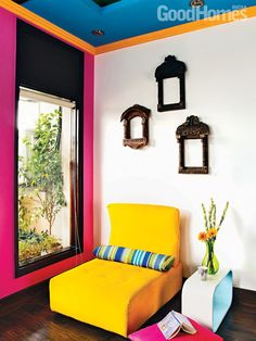 Yellow chair - a boho Indian home