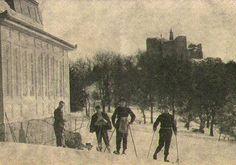 Skijanje u Beogradu, Avala, 1928, u pozadini se vide ostaci srednjevekovne tvrđave Žrnov. Beograd, prvi ski centar u Srbiji
