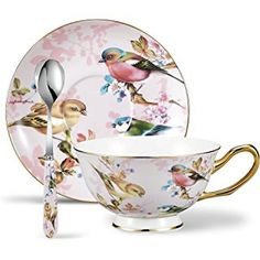 Panbado 3 Piece Porcelain Gold Rimmed Bone China Tea Cup Saucer Set With Spoon Teacup Coffee, Flower and Birds, oz. Tea Cup Set, My Cup Of Tea, Cup And Saucer Set, Tea Cup Saucer, Tea Sets, Vintage Cups, Vintage Tea, Teapots And Cups, Teacups