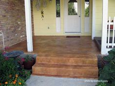 Concrete floor stained porch. Would like slightly darker on riser and slightly lighter on tread.