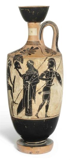 AN ATTIC BLACK-FIGURED WHITE-GROUND LEKYTHOS ATTRIBUTED TO THE EDINBURGH PAINTER, CIRCA 510-490 B.C.