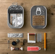 From Things Organized Neatly. Survival kit in a sardine can. Camping Survival, Outdoor Survival, Survival Prepping, Emergency Preparedness, Survival Skills, Survival Gear, Urban Survival, Survival Items, Emergency Kits