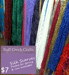 Printed Silk Scarves are Available for Spring and only $7- Ruff Creek Crafts