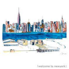 『welcome to newyork/高野まきこ Takano Makiko』 手書きの線に水彩やカラートーンによる彩色で、どこかほっとする世界を描くイラストレーター『高野まきこ』。→http://takanomakiko.strikingly.com 「憧れのニューヨーク、そこはエネルギーと音楽がふつうに溢れる街でした。人とちがう自分の個性を楽しんで!好きなことを全力で楽しんで!そんなメッセージをこめたイラスト」とのこと。