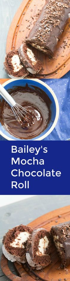This chocolate roll is the best cake!  The cake itself is tender and soft and has a light mocha flavor while the center is pure decadence!  A rich Bailey's buttercream is in the center while a smooth Bailey's ganache drapes over top!  via @Lemonsforlulu