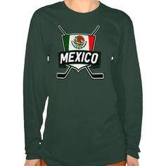 "Mexico Ice Hockey Flag Women's T-Shirt.This design is available on a wide range of apparel for men, women, children and babies! Check out the ""Hockey Nations"" department in my store: http://www.zazzle.com/gamefacegear*/ #HockeyTShirts"