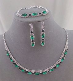 Green With Crystal Rhinestone Necklace Bracelet Earring Set Fashion Jewelry NEW #ChristinaCollection