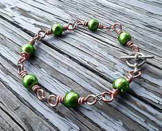 Tennis bracelet, link bracelet, wire wrapped bracelet, Jade bracelet, fairytale bracelet, beaded bracelet, bohemian bracelet