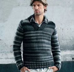 Описание вязания на спицах пуловера, связанного изнаночной гладью, из журнала «Verena. Специальный выпуск» №6/2013