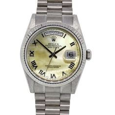 Rolex Day-Date 18k White Gold Mother of Pearl Watch. Get the lowest price on Rolex Day-Date 18k White Gold Mother of Pearl Watch and other fabulous designer clothing and accessories! Shop Tradesy now