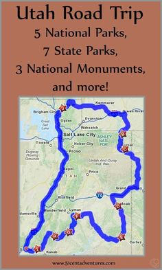 Great Map Of Awesome Places To Visit In Utah I Love Utah - Us national parks map road trip