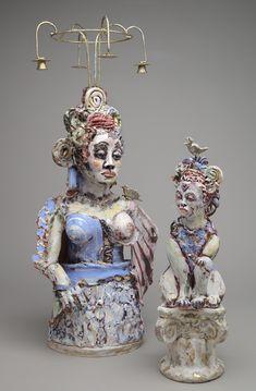 "Sculpture : ""Madonna and Child after Fouquet"" (Original art by Suzy Birstein) Madonna And Child, Suzy, Figurative, Original Art, Sculptures, Christmas Ornaments, The Originals, Holiday Decor, Children"