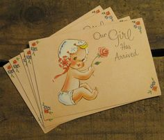 Vintage Baby Girl with Rose Baby Announcements - Set of 12 - Baby Girl