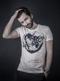 David Tennant for the Greenpeace UK Save The Arctic campaign T-shirt by Vivienne Westwood Photo by Andy Gotts (2014)