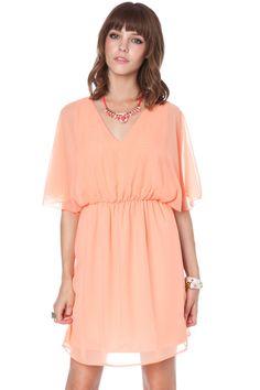 ShopSosie Style : Peach flutter dress