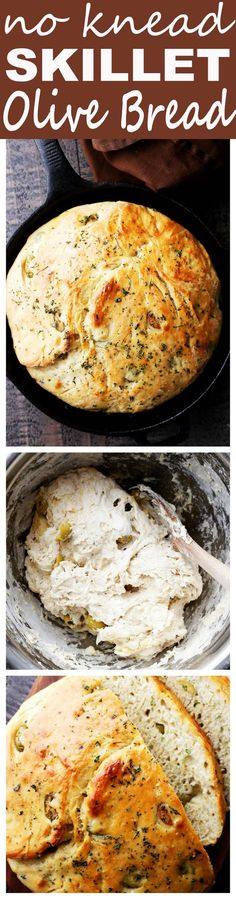 No Knead Skillet Olive Bread - Very easy to make no-knead crusty and delicious bread packed with marinated olives and garlic. No Knead Skillet Olive Bread - Very easy to make no-knead crusty and delicious bread packed with marinated olives and garlic. Iron Skillet Recipes, Cast Iron Recipes, Cast Iron Skillet, Pain Aux Olives, Ma Baker, Skillet Bread, Skillet Cake, Skillet Cooking, Marinated Olives