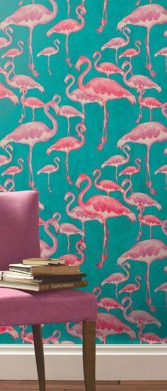 Flamingo Beach Fuschia Designer Wallpaper - A Shade Wilder