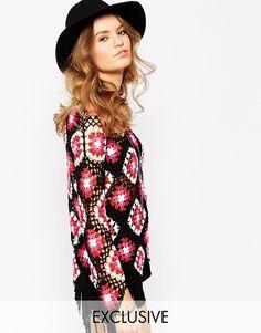 Violet Skye Patchwork Crochet top Boat neckline  Scoop back  Relaxed fit  100% Acrylic Model wears a UK 8/EU 36/US 4