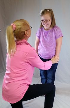 "Downs Designs expands to offer black dress pants to unique market of people with Down syndrome. Maggie sharing a special moment with grandma during her photo shoot wearing her namesake ""Maggie"" jeans. https://www.kickstarter.com/projects/2005207412/downs-designs-special-clothes-for-special-people"