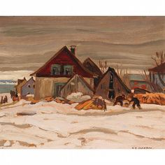 ALEXANDER YOUNG JACKSON, O.S.A., R.C.A., QUEBEC VI - by Waddington's Landscape Art, Landscape Paintings, Landscapes, Emily Carr, Canadian Painters, Canadian Artists, Winter Painting, Winter Art, Paisajes