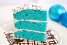 Ingredients: ½ cup Crisco 1 ½ cups sugar 2 eggs 1 ounce royal blue gel paste food color 2 drops violet gel paste food color 2 tablespoons cocoa 2 ¼ cups all-purpose flour 1 scant teaspoon salt 1 teaspoon vanilla 1 teaspoon soda 1 cup buttermilk 1 Round Cake Pans, Round Cakes, Strawberry Dream Cake Recipe, Ice Skating Party, Skate Party, Sweet 16 Cupcakes, Blue Velvet Cakes, Cake Flavors, Piece Of Cakes