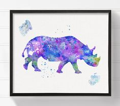 High quality print of my original watercolor artwork Purple Rhino.  Professionally printed on heavy weight (230 g. 9-5 mil), acid-free, high
