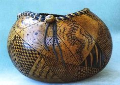 Gourds Crafts | painted gourd with filigree carving gourdament knotless netting