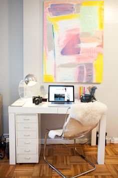 Suzie: Teen Vogue - Alexandra Heitz - Parquet wood floors, pink & gray abstract art, West Elm ...