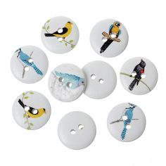 10 Pcs Wood Round Scrapbooking Sewing Buttons Multicolor Bird Design 15mm