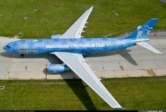 "Airliners.net ‏- Overview of an Etihad Airways A330-243 Wearing a beautiful ""Manchester City Football Club"" special livery while."