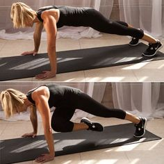 Plank Knee Twist. Start in full plank position w/ both legs straightened behind you, feet slightly wider than hip-width apart. Draw abs in tight &bend right knee in&across body towards left elbow, allowing your hips to twist. Quickly step your right foot back into plank position. Repeat w/ the left leg. That's one rep. Do 10 reps in a row. Form Tip: Exhale and pull your belly button in towards your spine as you draw your knee across your body, & keep your arms & shoulders strong & steady.