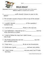 Homophone Worksheet Which Witch Grammar Pinterest