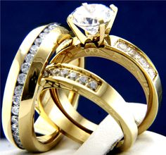 His Hers 3 pcs Womens Engagement & Mens Wedding Bridal Stainless Steel Rings Set #InterStoreJewelry