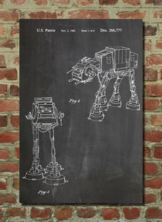 Hey, I found this really awesome Etsy listing at https://www.etsy.com/listing/128177118/at-at-imperial-walker-patent-wall-art