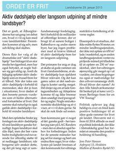 Ugeavisen Landsbyerne fokuserer pt. på aktiv dødshjælp til landsbyer – her er mit bidrag til debatten.