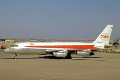 Convair 880 N830TW of Trans World Airlines operating a scheduled service at Chicago O'Hare Airport in 1971.