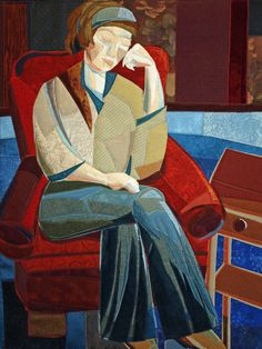 Woman in Red Chair.  Many beautiful fiber art pieces at this site.  www.lubbesmeyer.com