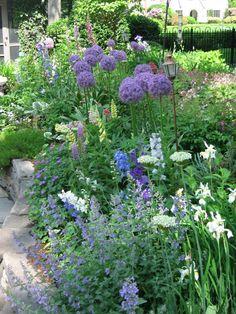 perrenials- love the purple puff things. Nancy Ginn perrenials- love th Garden Cottage, Garden Pots, Herb Garden, Back Gardens, Outdoor Gardens, Amazing Gardens, Beautiful Gardens, English Country Gardens, Garden Borders