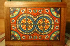 California Tile Table, nice double medallion motif in great colors! View at luckystargallery.com  $495 Tile Tables, Vintage California, Spanish Revival, Tile Art, Custom Furniture, Design Inspiration, Pottery, Black And White, My Favorite Things