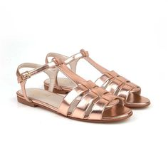 5fe76b5ee644c Beyond Skin Annie rose gold metallic flat vegan sandal made from synthetic  faux leather 100%
