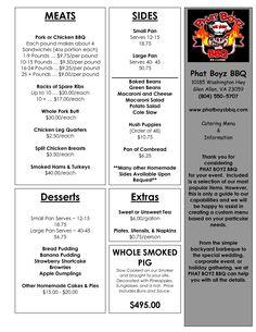 catering menu templates | CATERING Menu for website