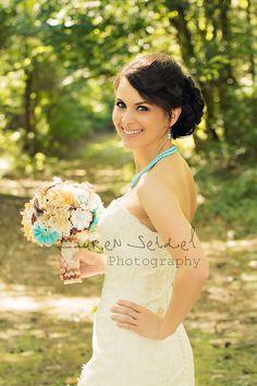 Rustic Boho Chic Burlap Lace Wedding Bouquet. via Etsy.