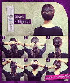Sleek chignon. By clear shampoo