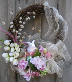 Easter Bunny Spring Garden Wreath