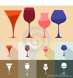 Set of wine glass style with many various color and model