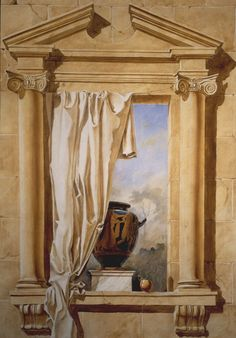 """""""Michael Alford's modern take on a traditional trompe l'oeil motif. A faux window opens onto an imagined landscape. The architectural elements—and the black figure vase—hark back to classical times."""""""
